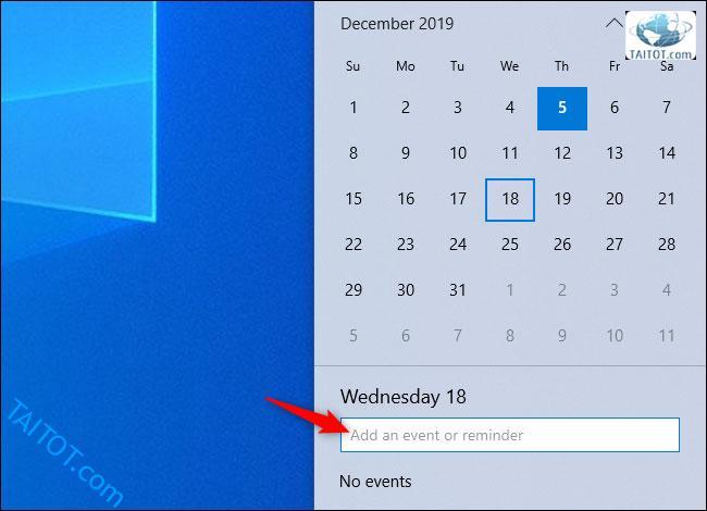 thu-thuat-windows-10-hay-Tạo sự kiện mà không cần mở ứng dụng Calendar